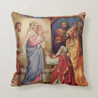 Virgem Maria, três reis, Jesus, St Joseph, Magi Almofada