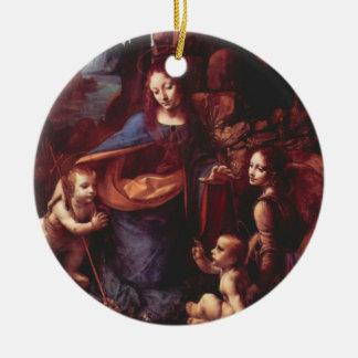 Virgin das rochas por Leonardo da Vinci Ornamento De Cerâmica