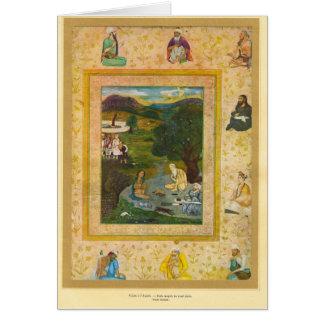 Visita ao guru, Mughal, século XVII Cartão Comemorativo