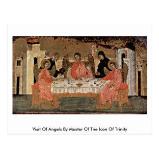 Visita dos anjos pelo mestre do ícone da trindade cartão postal