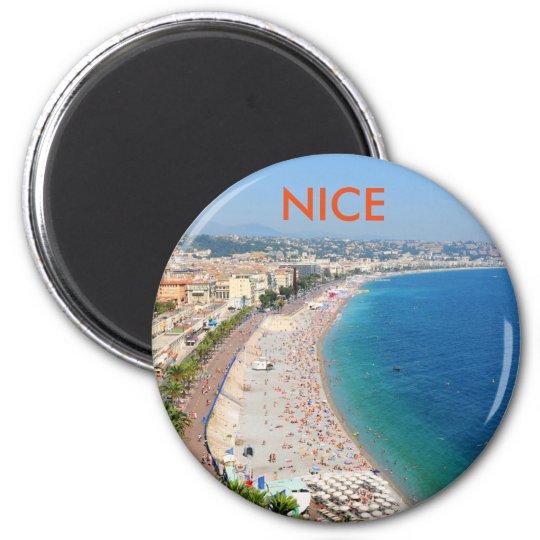 Vista aérea da praia em agradável, France Ímã Redondo 5.08cm
