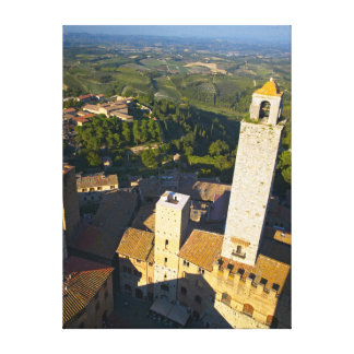 Vista da torre, San Gimignano, Siena, Toscânia Impressão De Canvas Esticadas