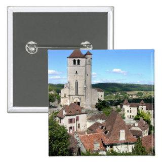 Vista da vila e da igreja (foto) bóton quadrado 5.08cm