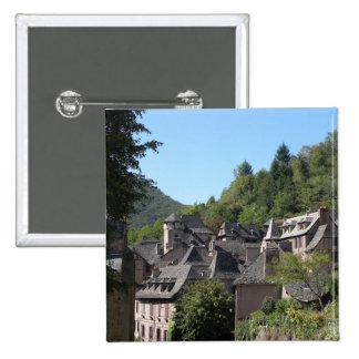 Vista da vila medieval (foto) bóton quadrado 5.08cm