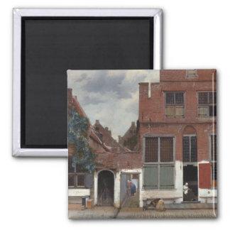 Vista das casas em Delft a rua pequena Ima De Geladeira
