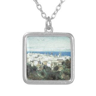 Vista de Genoa por Camilo Corot Colar Com Pendente Quadrado
