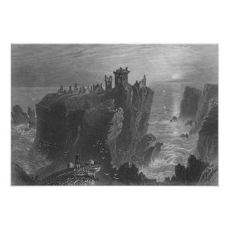 Vista do castelo de Dunottar, perto de Stonehaven Poster