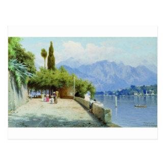 Vista do lago Como por Fyodor Bronnikov Cartão Postal