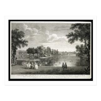 Vista do lago da caminhada do centro no garde cartão postal