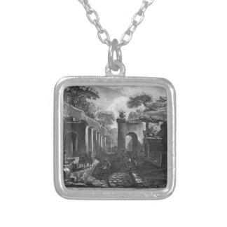 Vista do porto da cidade antiga de Pompeii Colar Banhado A Prata