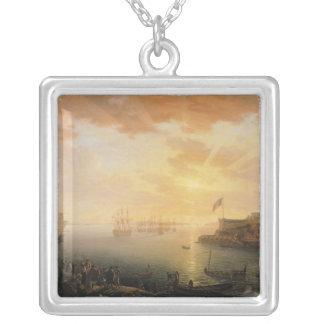 Vista do porto de Bresta, 1796 Colar Banhado A Prata