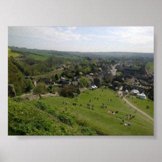 Vista do poster do castelo de Corfe