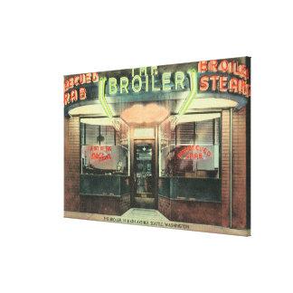 Vista exterior do restaurante da grelha impressão em tela canvas