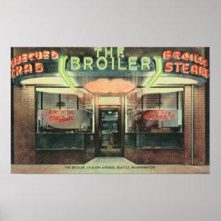 Vista exterior do restaurante da grelha posters