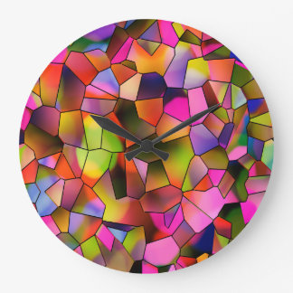 Vitral na moda da arte abstracta da cor relógio grande