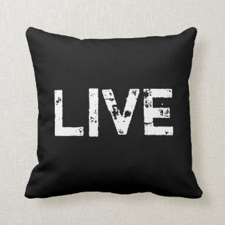Viva no travesseiro preto e branco