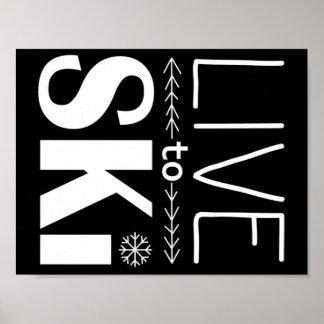 Viva para esquiar preto do poster (básico) -