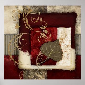 Vivaldi - arte abstrata da colagem do vermelho poster