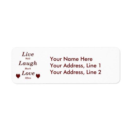 Vive o amor do riso etiqueta endereço de retorno