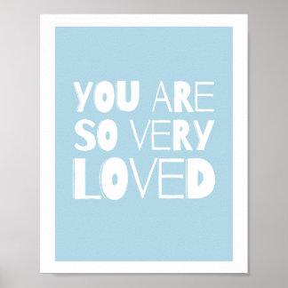 Você é azul moderno doce amado da decoração | da póster