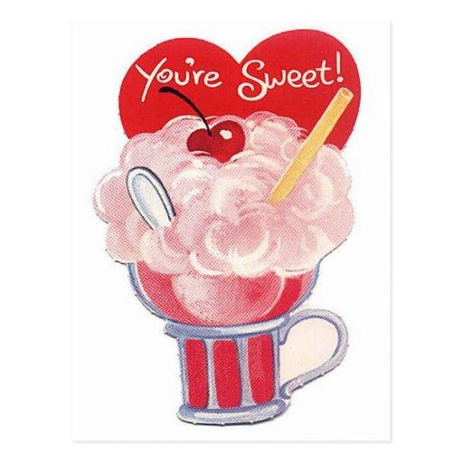 Você é cartão retro da soda do vintage doce cartao postal