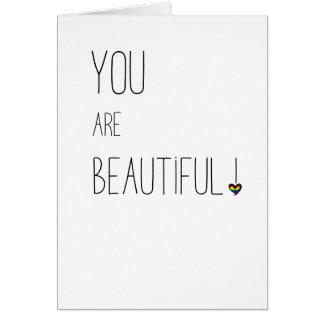 Você é - LGBT - coração bonito do arco-íris Cartão