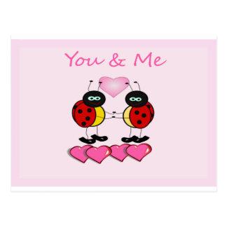 Você e mim amor do joaninha cartão postal
