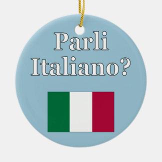 Você fala o italiano? no italiano. Bandeira Ornamento De Cerâmica Redondo