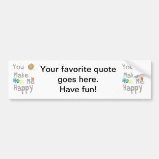 Você faz-me a tipografia feliz em cinzento e em br adesivo para carro