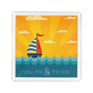 Você mim & o mar bandeja de acrílico