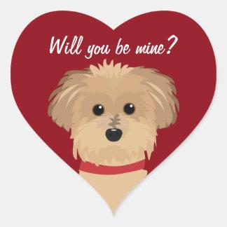 Você será meu? Coração do vermelho do amor do cão Adesivo Coração