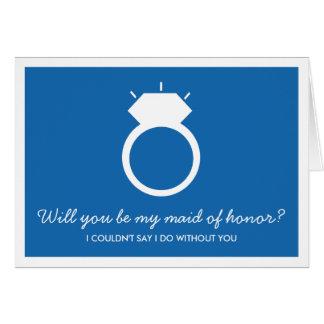 Você será minha madrinha de casamento? Cartão azul