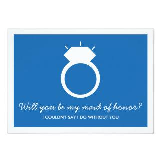 Você será minha madrinha de casamento? Cartão azul Convite 12.7 X 17.78cm