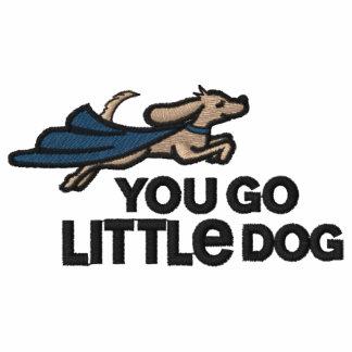 Você vai polo bordado do cão pequeno