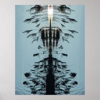 """""""Voe livre"""" o poster abstrato do preto do Aqua Pôster"""