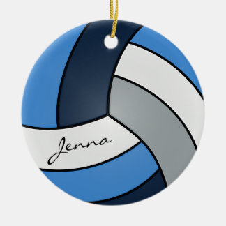 Voleibol azul escuro, azul, branco & cinzento ornamento de cerâmica