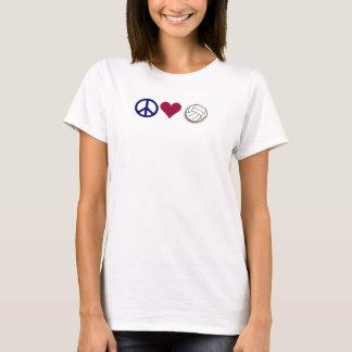 voleibol do amor da paz camiseta
