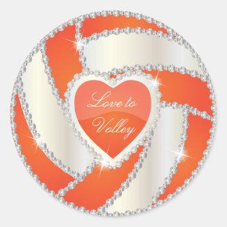 Voleibol elegante da laranja do coração do adesivos redondos