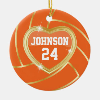 Voleibol elegante da laranja e do ouro enfeites para arvore de natal