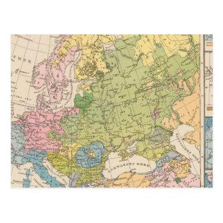 Volkerkarte von Europa, mapa de Europa Cartão Postal