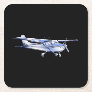 Vôo clássico da silhueta de Cessna dos aviões no Porta-copo De Papel Quadrado
