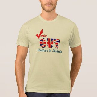 Vote acreditam PARA FORA no t-shirt do promocional