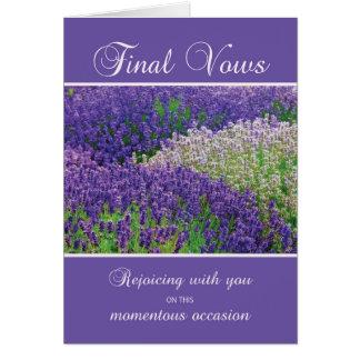 Votos finais da freira, júbilo, flor da lavanda cartão