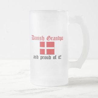Vovô dinamarquês orgulhoso caneca de cerveja vidro jateado