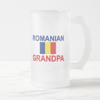 Vovô romeno caneca de cerveja vidro jateado