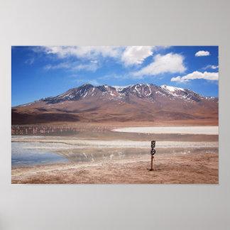 Vulcão em uma paisagem de Altiplano Poster