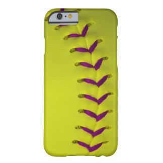 w/Purple amarelo costura o basebol/softball Capa Barely There Para iPhone 6