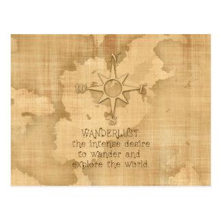 """""""Wanderlust…"""" Citações de viagem no papel do Cartão Postal"""