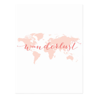 Wanderlust, desejo viajar, mapa do mundo cartão postal