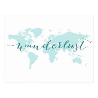 Wanderlust, desejo viajar, mapa do mundo da cartão postal